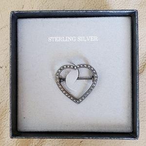 Sterling Silver Heart 1 Inch Brooch pin